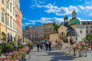 Die malerische Altstadt von Krakau in Polen