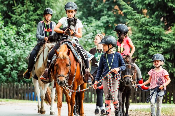 Kinder reiten und begleiten Pferde